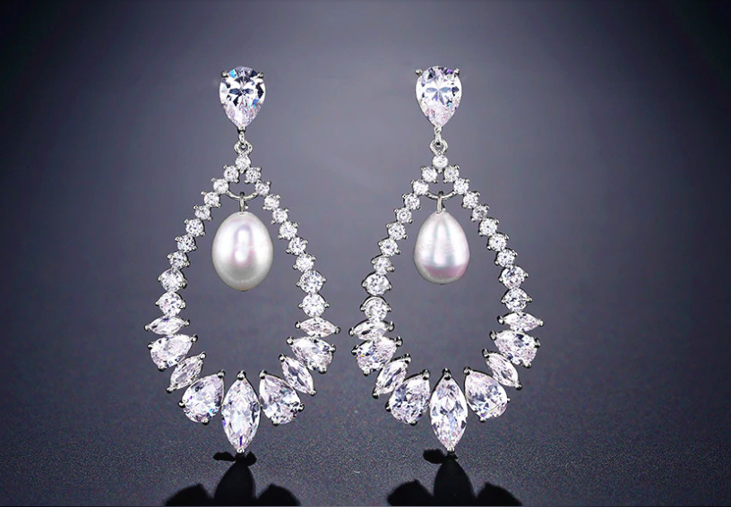 AAA CZ Open Pearl Drop Formal Earring