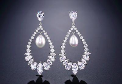 AAA CZ Open Pearl Drop Formal Earring