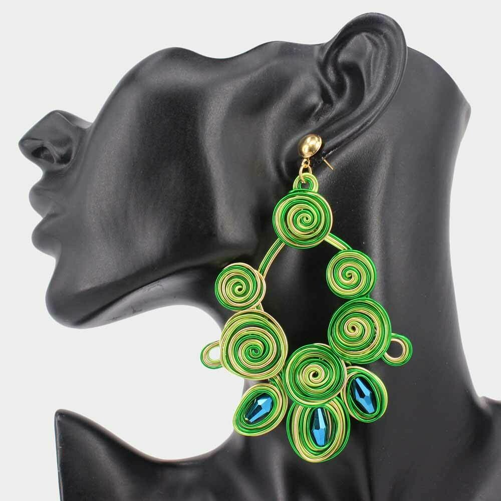 Swirl Metal Triple Resin Bead Point Dangle Earring