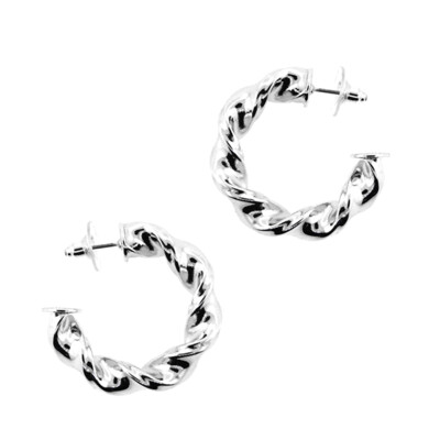 Silver Twisted Metal Hoop Earring