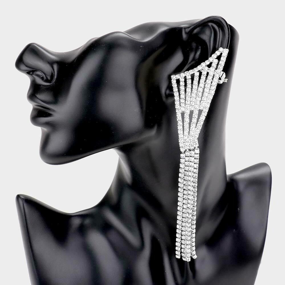 Rhinestone Long Drop Ear Cuff Evening Earring