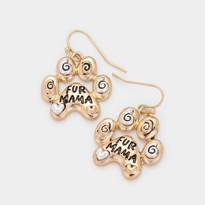 Fur Mama Animal Paw Metal Dangle Earrings