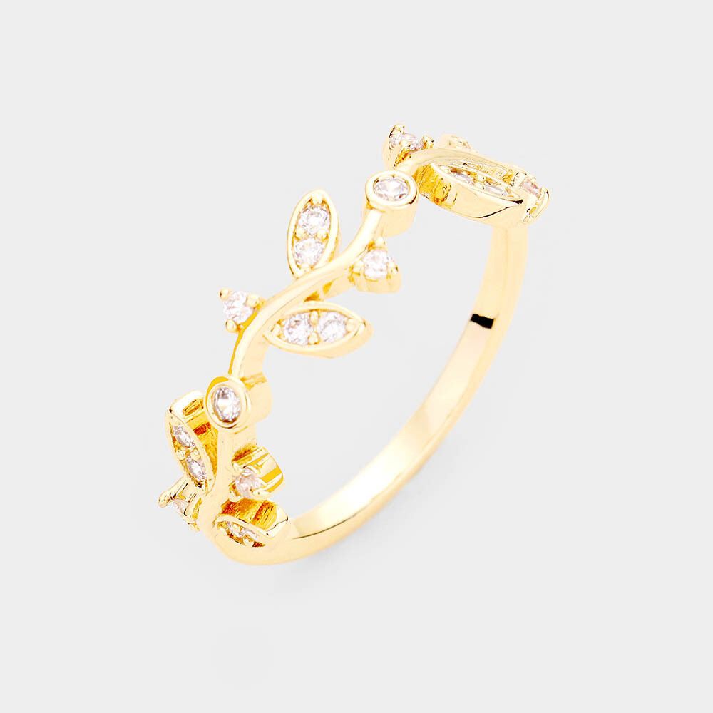Gold Plated CZ Leaf Ring