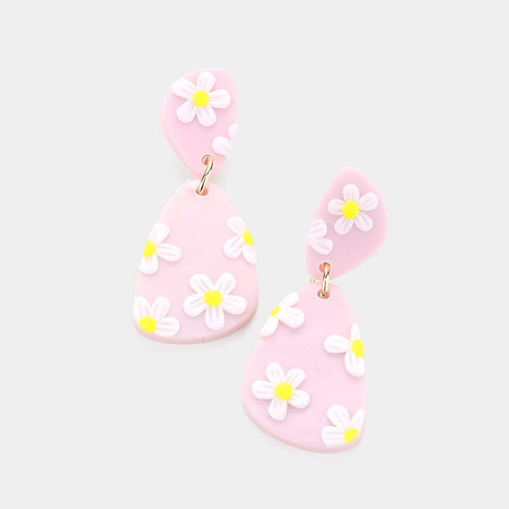 Pink Clay Flower Accented Dangle Earrings