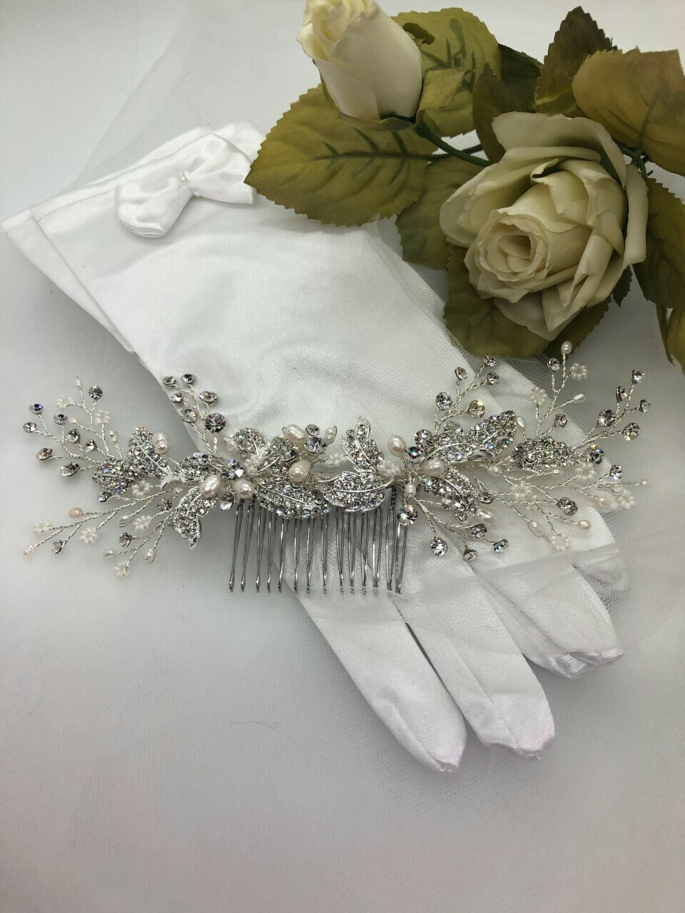 Dramatic Crystal/Pearl Large Back Hair Comb