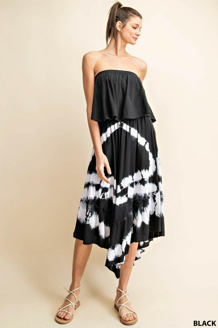 Off The Shoulder Black Tie Dye Midi Dress