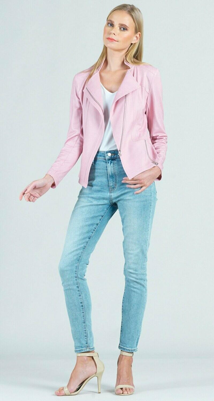 Pink Liquid Leather Zip Jacket