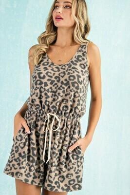 Leopard Sleeveless Romper Tie Waist