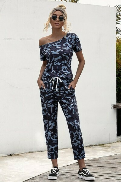 Navy Camo Drawstring Short Sleeve Jumpsuit