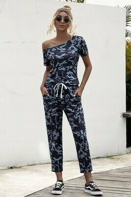 Navy Camo Drawstring Short Sleeve Jumpsuit