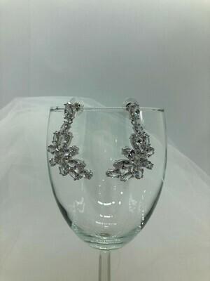 AAA Cubic Zirconia Marquis Cluster Drop Earring