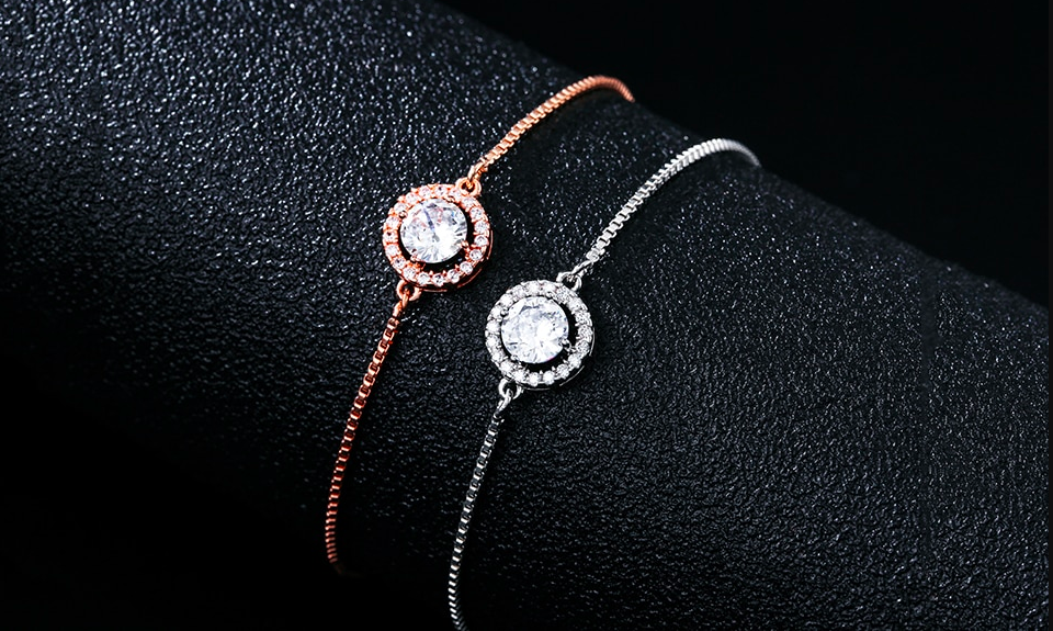 Round CZ Halo Adjustable Bracelet