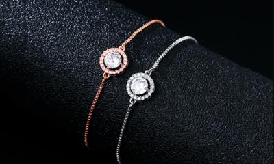 Round CZ Halo Adjustable Bracelet