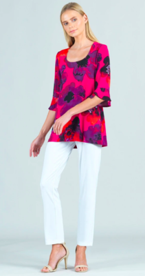 Poppy Print U-Neck Tulip Cuff Sleeve Tunic