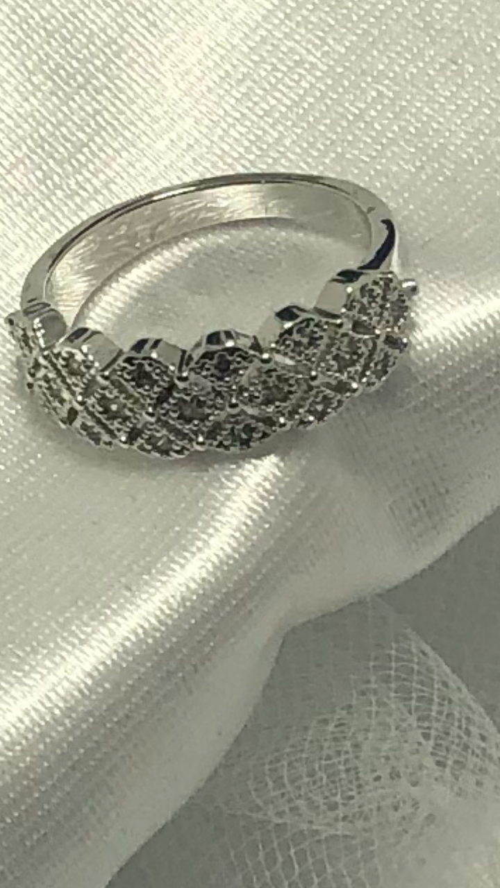 Vintage Pave CZ White Gold PLated Ring