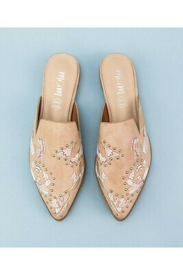 Blush Leather Embroidered Studded Mule