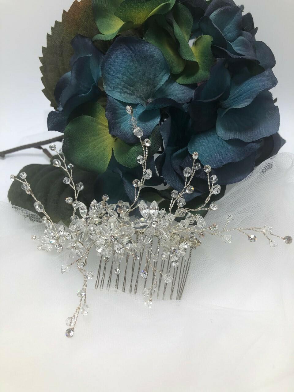Crystal Floral Spray Bridal Hair Comb