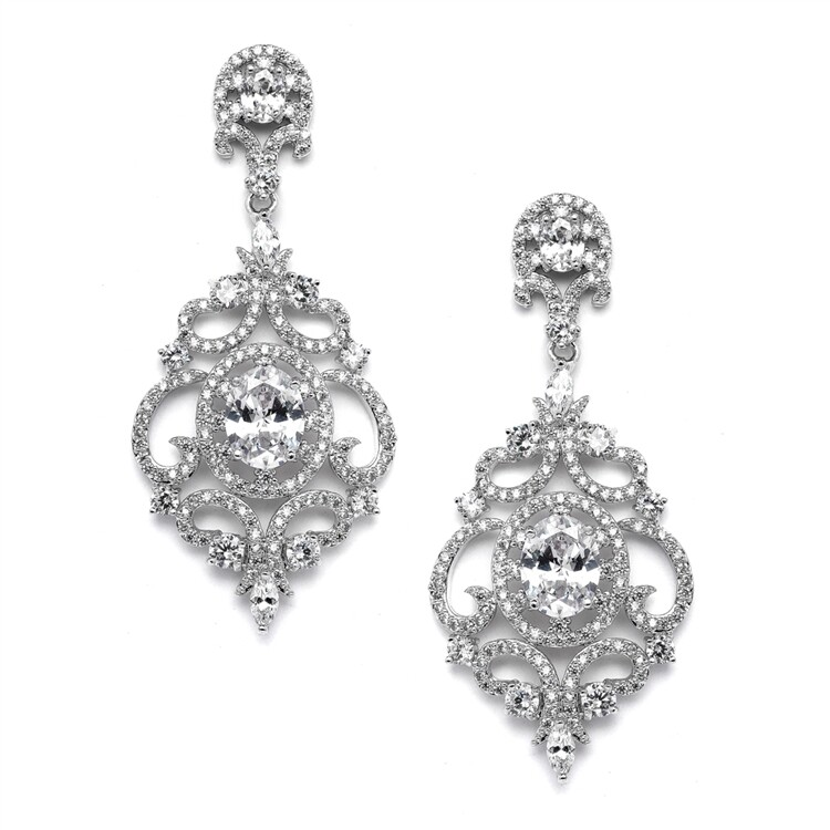 Victorian Scrolls Platinum Plated Earrings