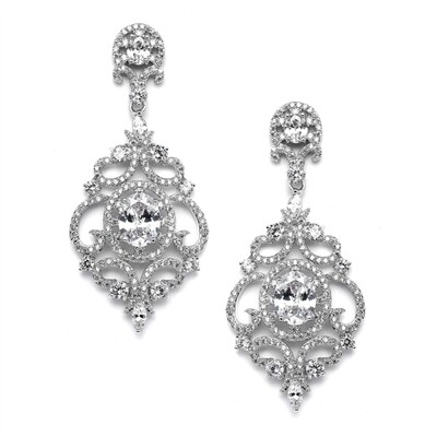 Victorian Scrolls Platinum Plated Earrings