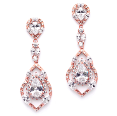 Rose Gold AAA CZ Hollow Out Long Dangle Formal Earring