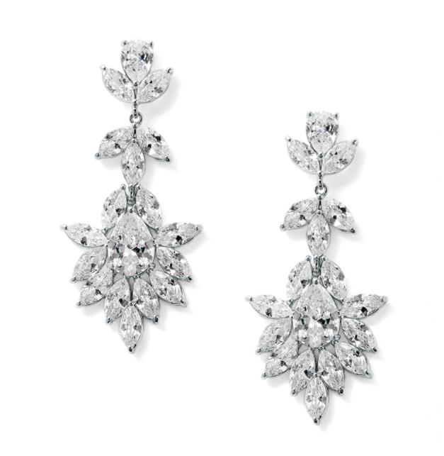 Platinum Silver Marquis & Pear CZ Bridal Earrings