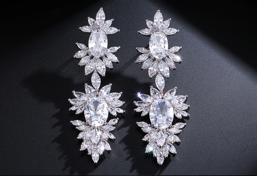 AAA CZ Double Marquise Drop Statement Earring