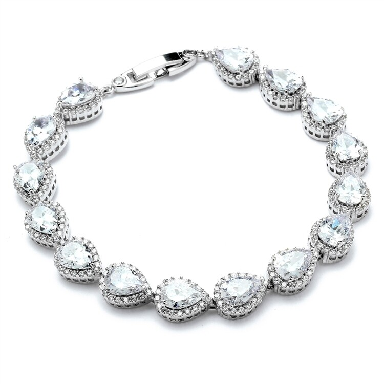"Petite Size 6 5/8"" CZ Framed Pears  Formal Bracelet"