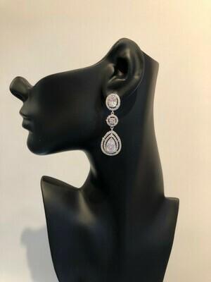 Oval/Round/Teardrop Three Drop CZ Formal Earring