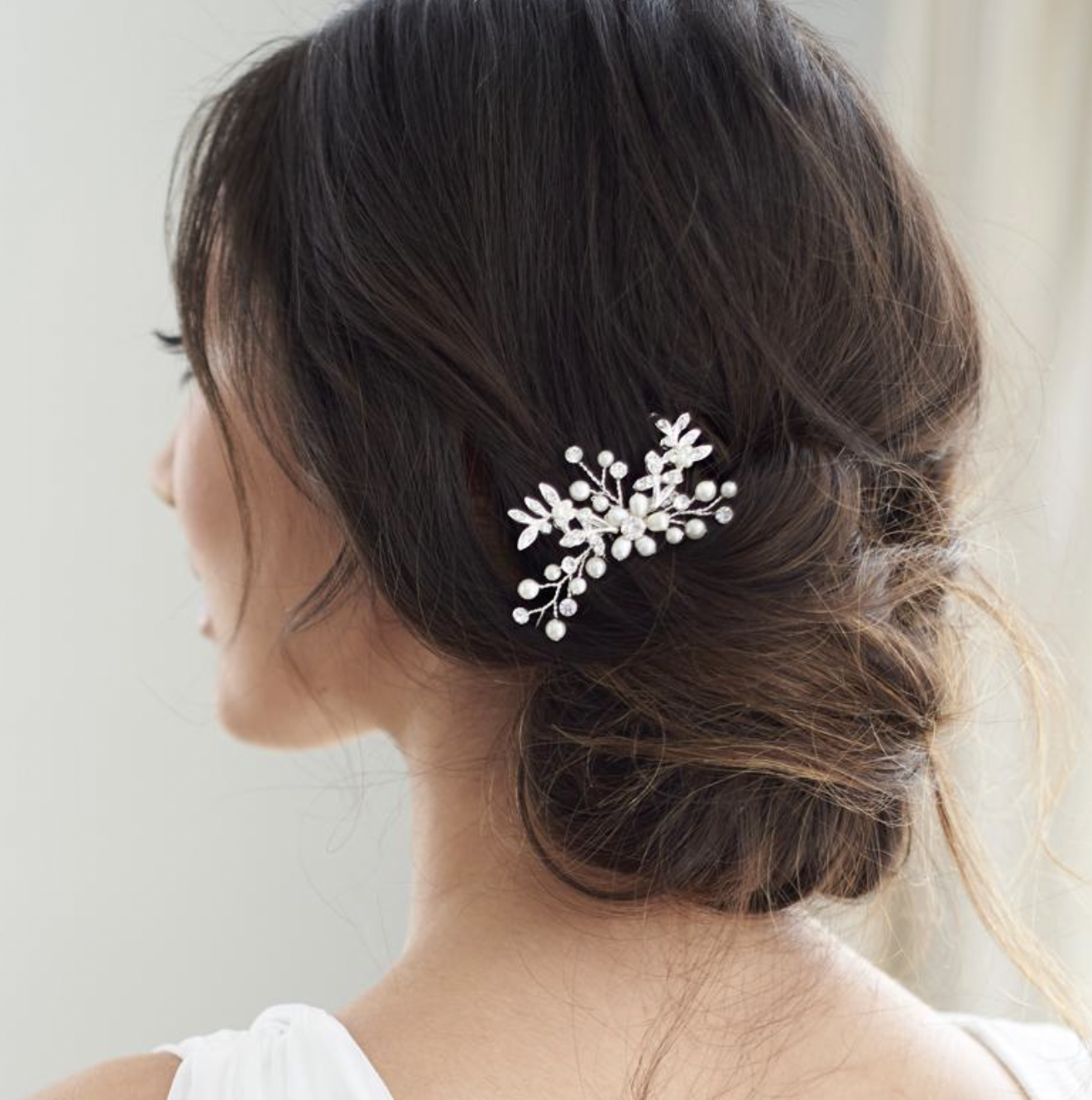 Small Floral Freshwater Pearl Comb