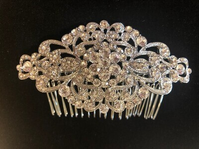 Large Art Deco Crystal Hair Comb
