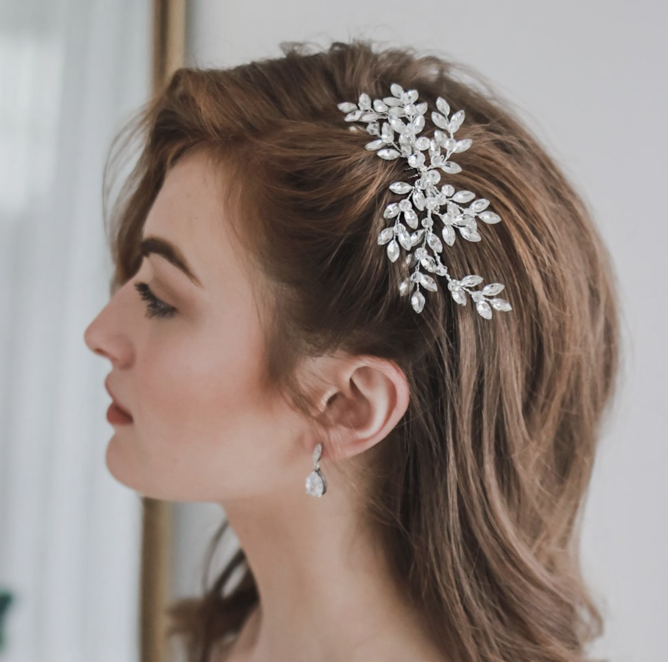 Marquise Crystal Gemstone Floral Hair Comb