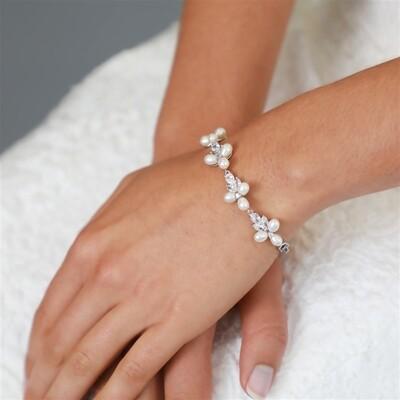Petite Freshwater Pearl & CZ Silver Platinum Bridal Bracelet