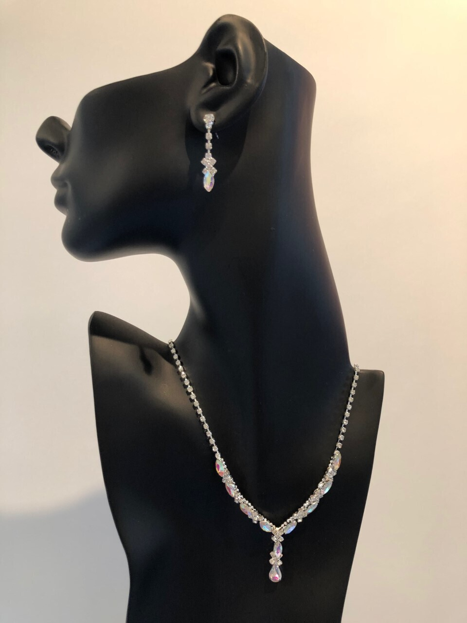 Silver AB Crystal Marquise/Pear Drop Set