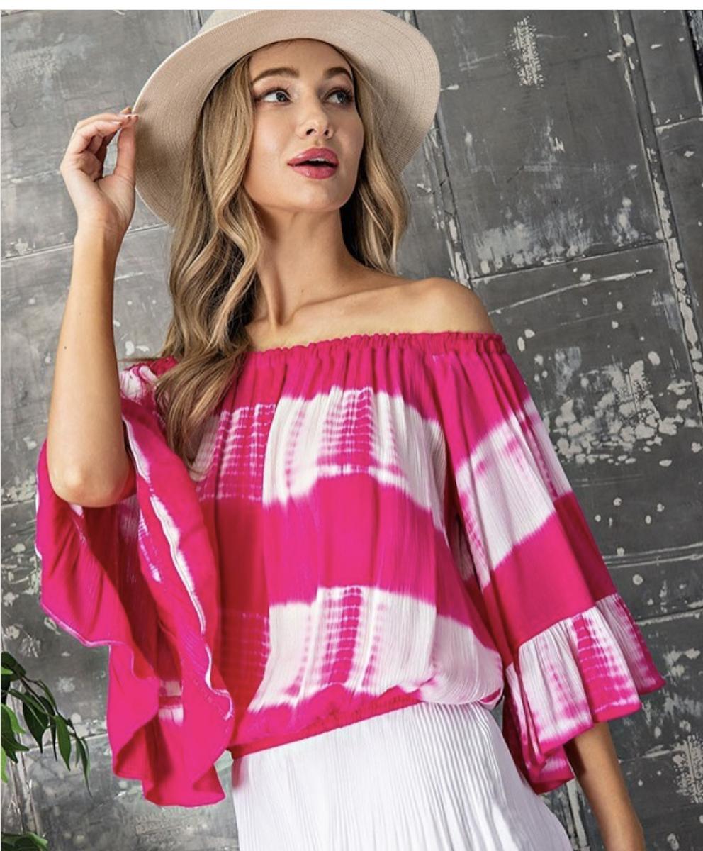 Hot Pink Tie Dye Off The Shoulder Top