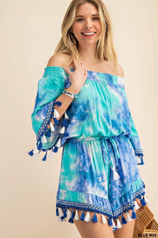 Aqua Tie Dye Off The Shoulder Tassel Romper