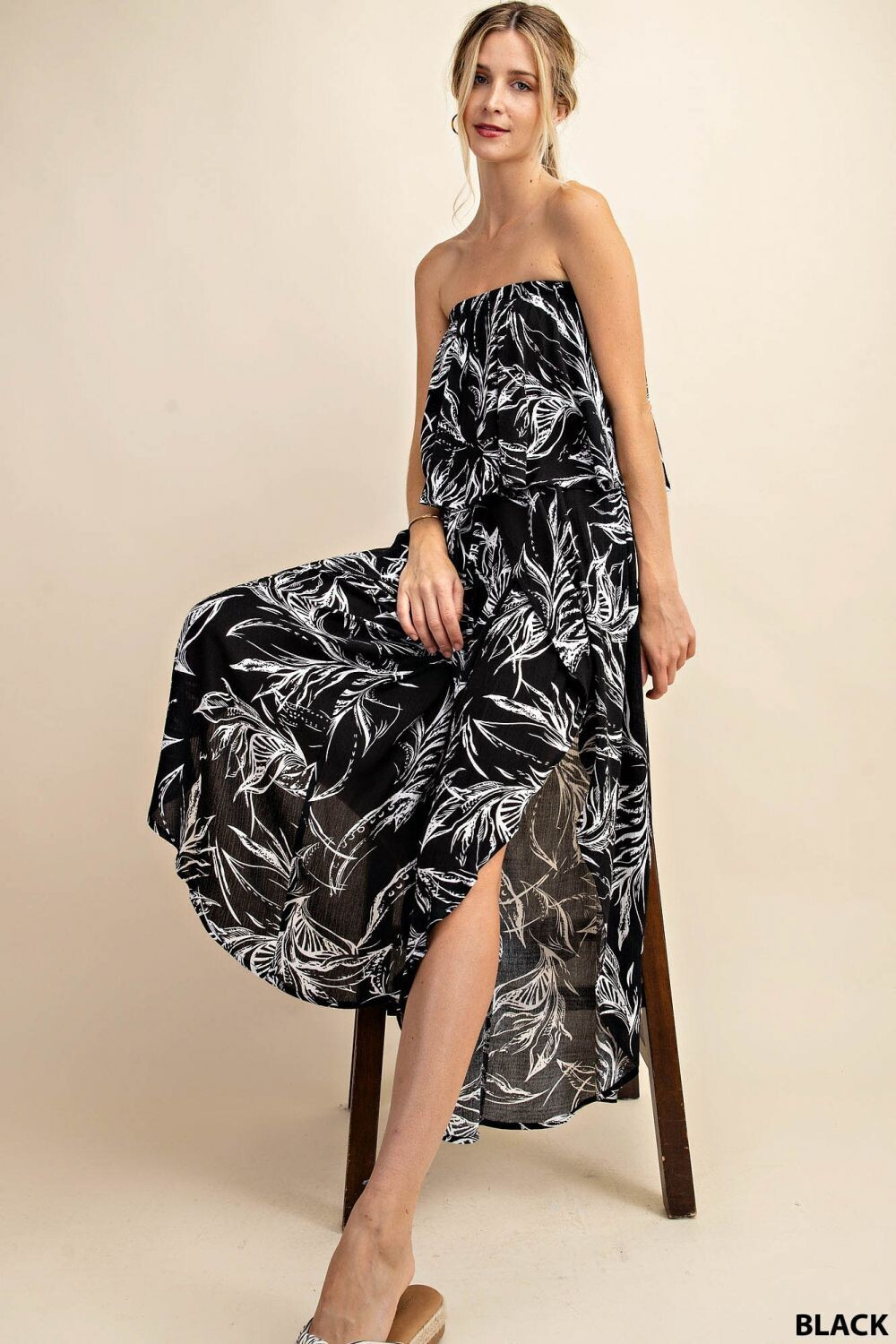 Ruffled Tube Top Jumpsuit with Lap Pants