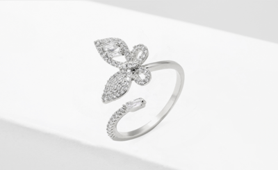 Rhodium Pave Cubic Zirconia Butterfly Ring