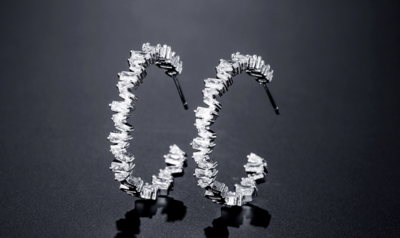 Staggered Baguette Hoop Earring