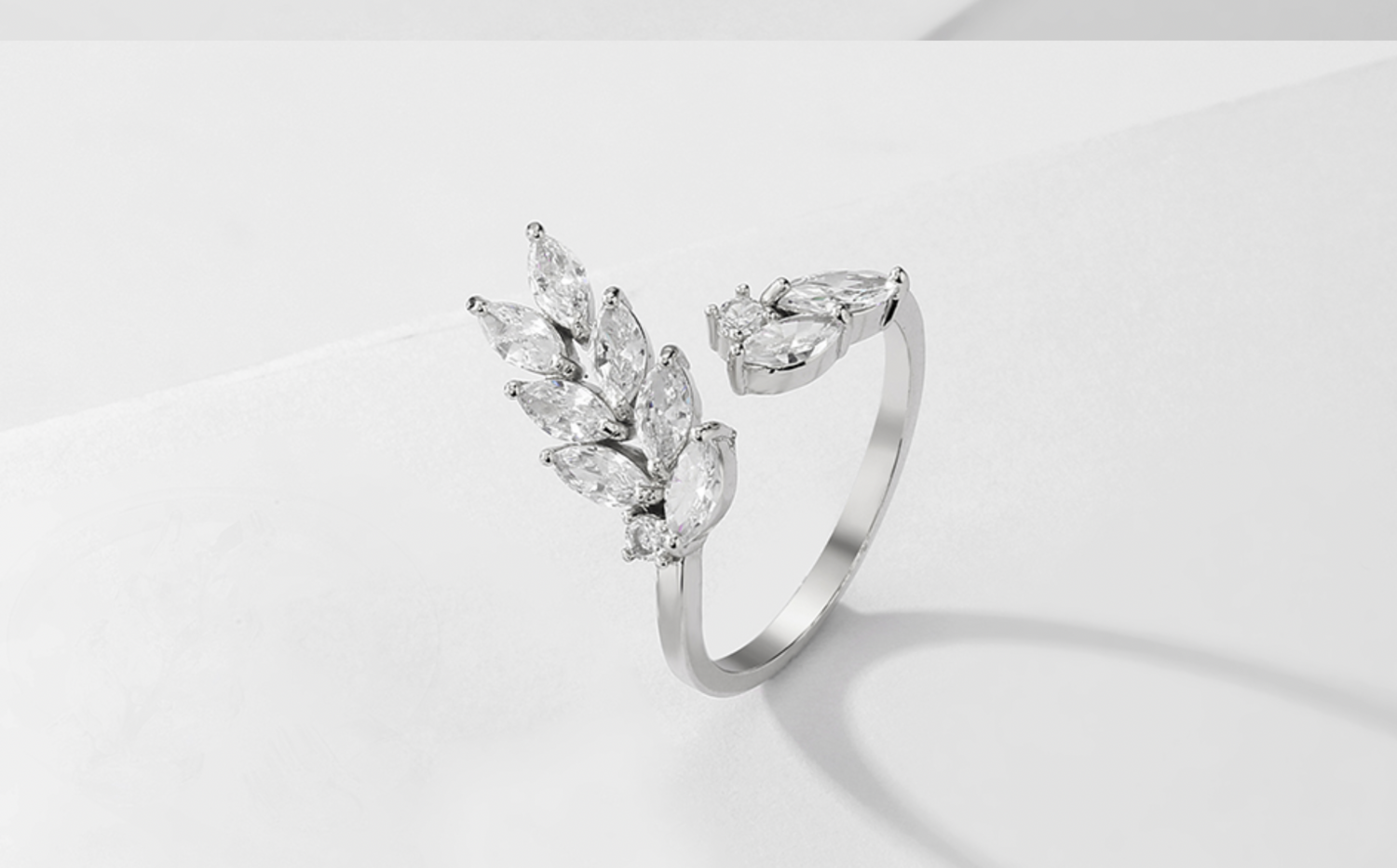 AAA Cubic Zirconia Marquise Leaf Open Ring
