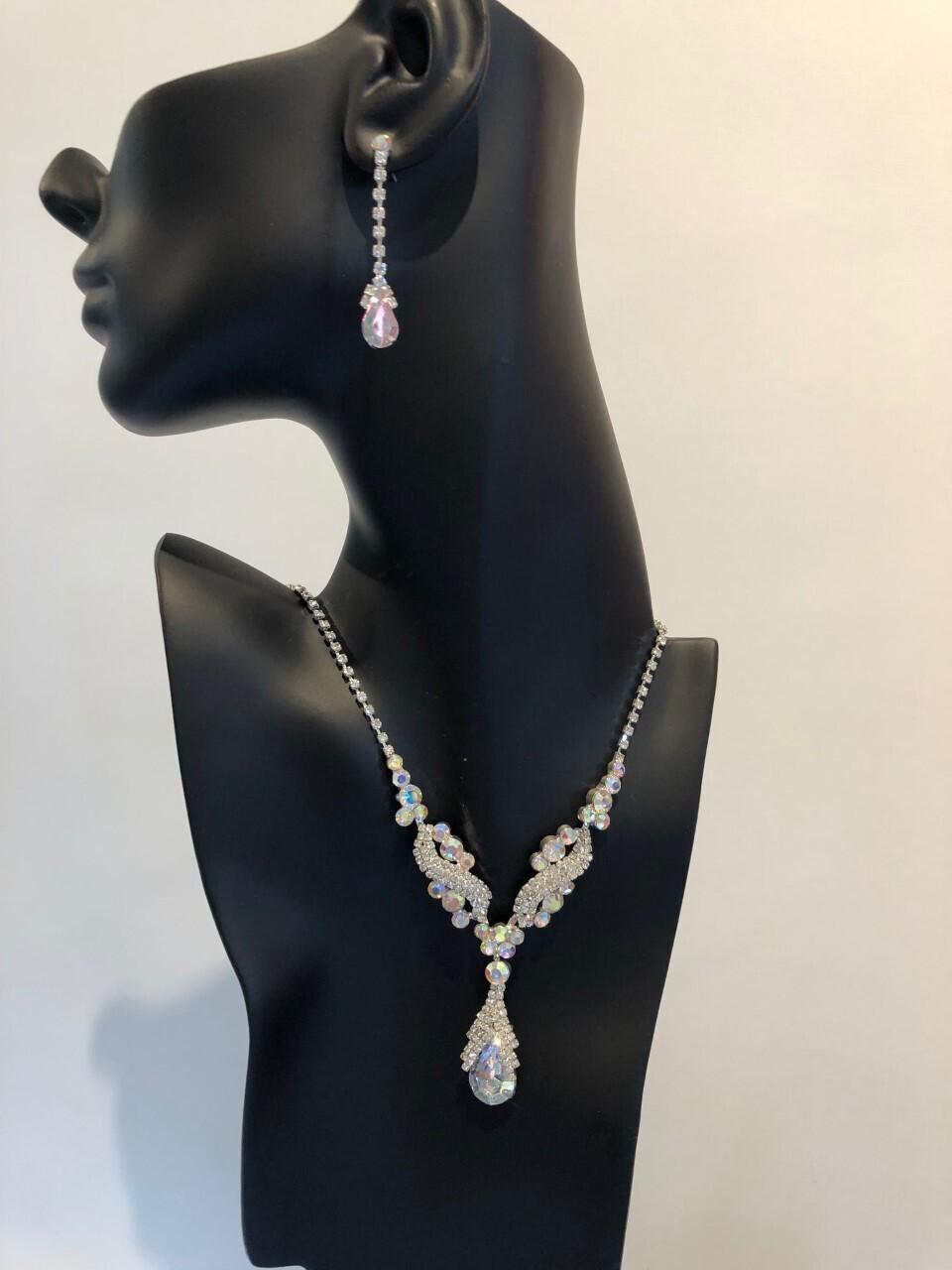 Clear/AB Crystal Pear Drop Set