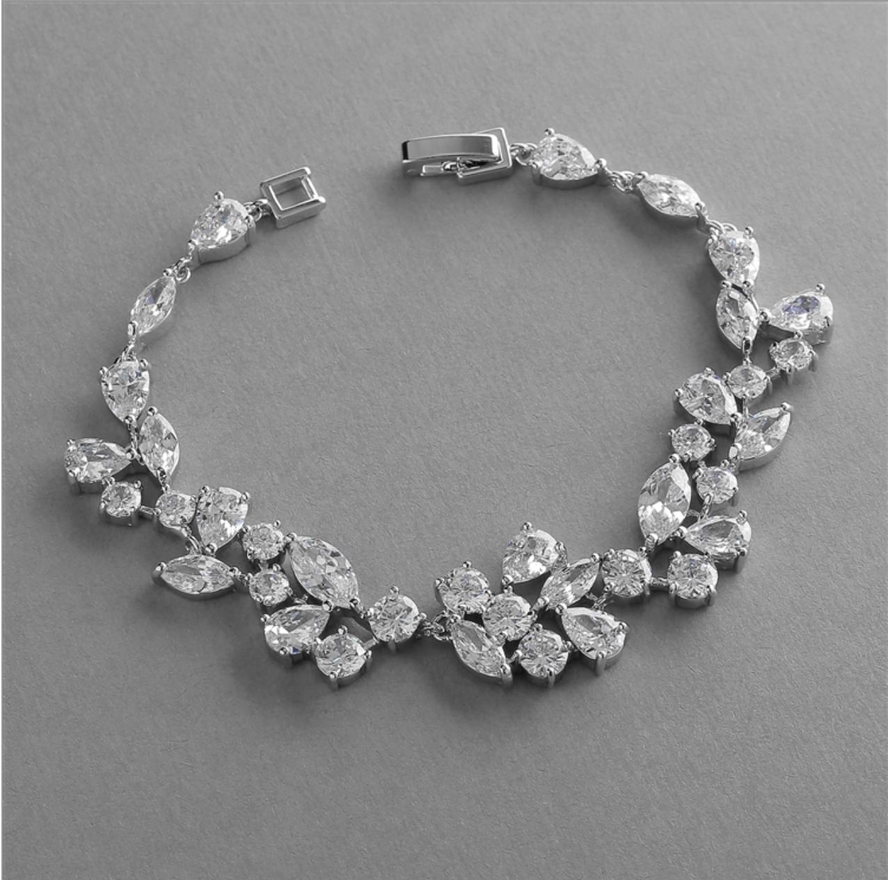 Glamourous Cubic Zirconia Mosaic Vine Bracelet