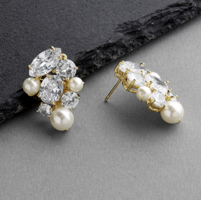Hand-Crafted CZ and Mixed Ivory Pearl Earring