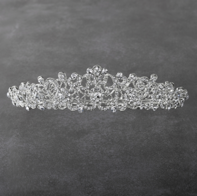 Vintage Filigree Silver Tiara with Clear Crystals