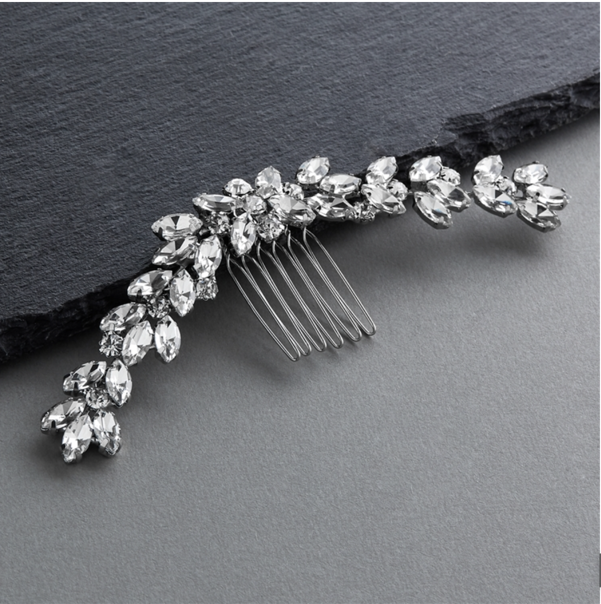 Hair Comb with Curved Marquis Crystal Design