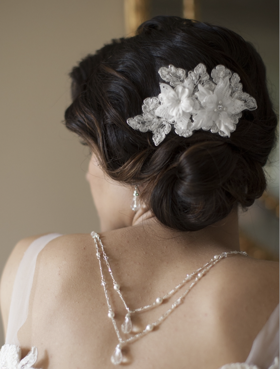 Handmade Bridal Comb with White Beaded Floral Lace Applique