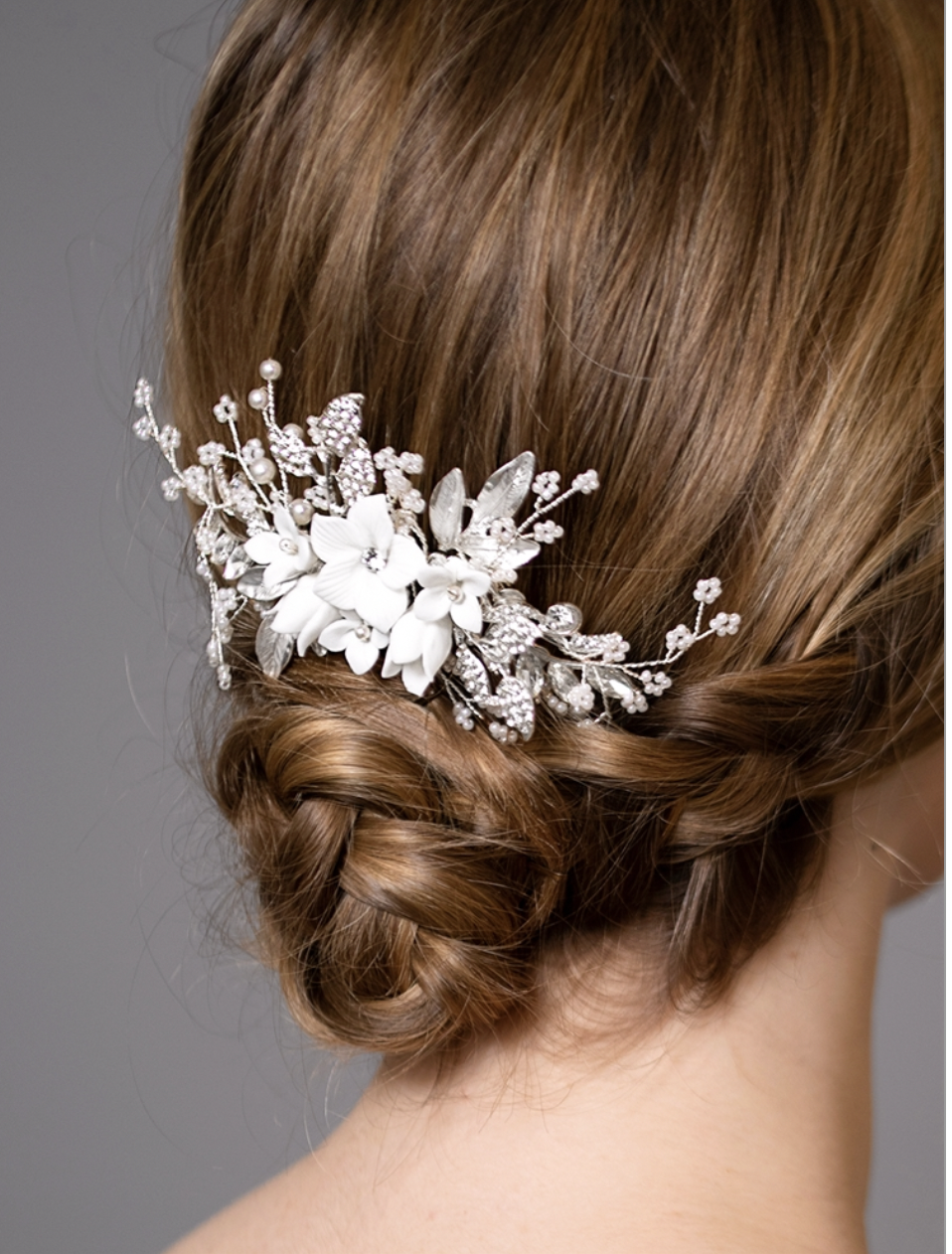 White Resin Flowers, Crystals and Dainty Pearl Sprays Hair Comb
