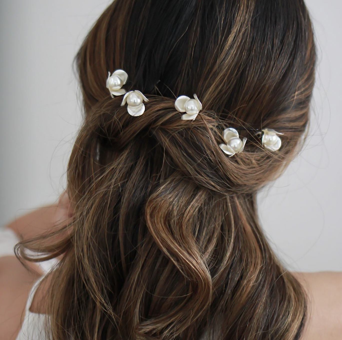 Brushed Silver Pearl Hair Pin