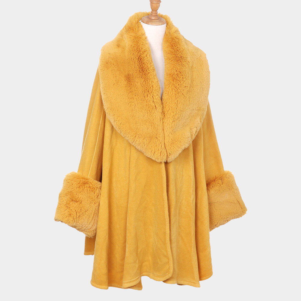 Mustard Faux Fur Collar Cuff Detail Poncho