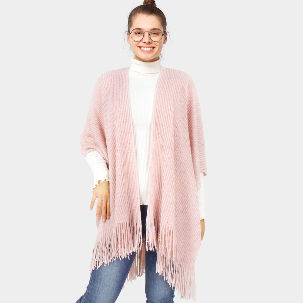 Sequin Embellished Fringe Knit Cape Poncho