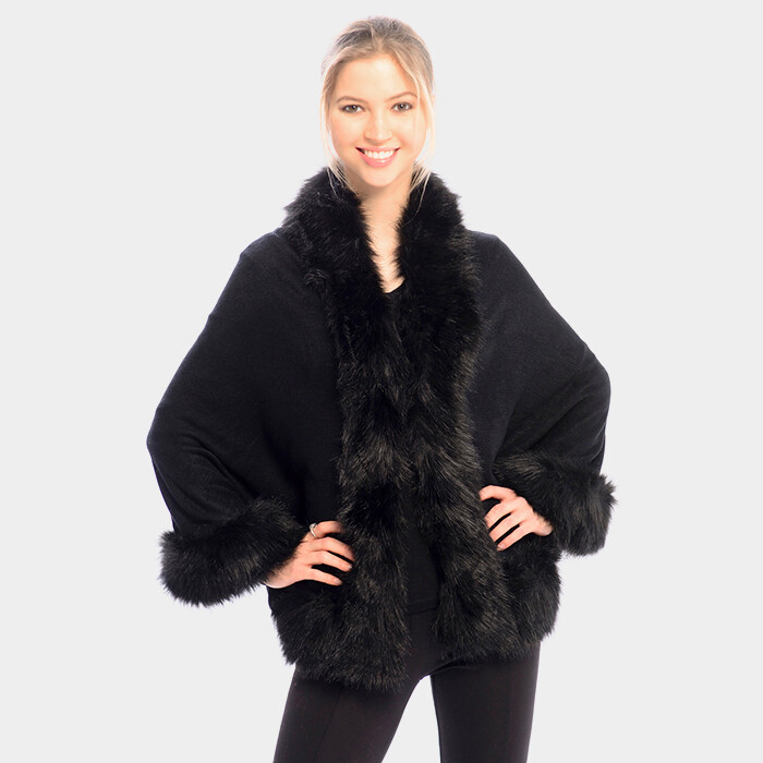 Black Faux fur trim shawl poncho